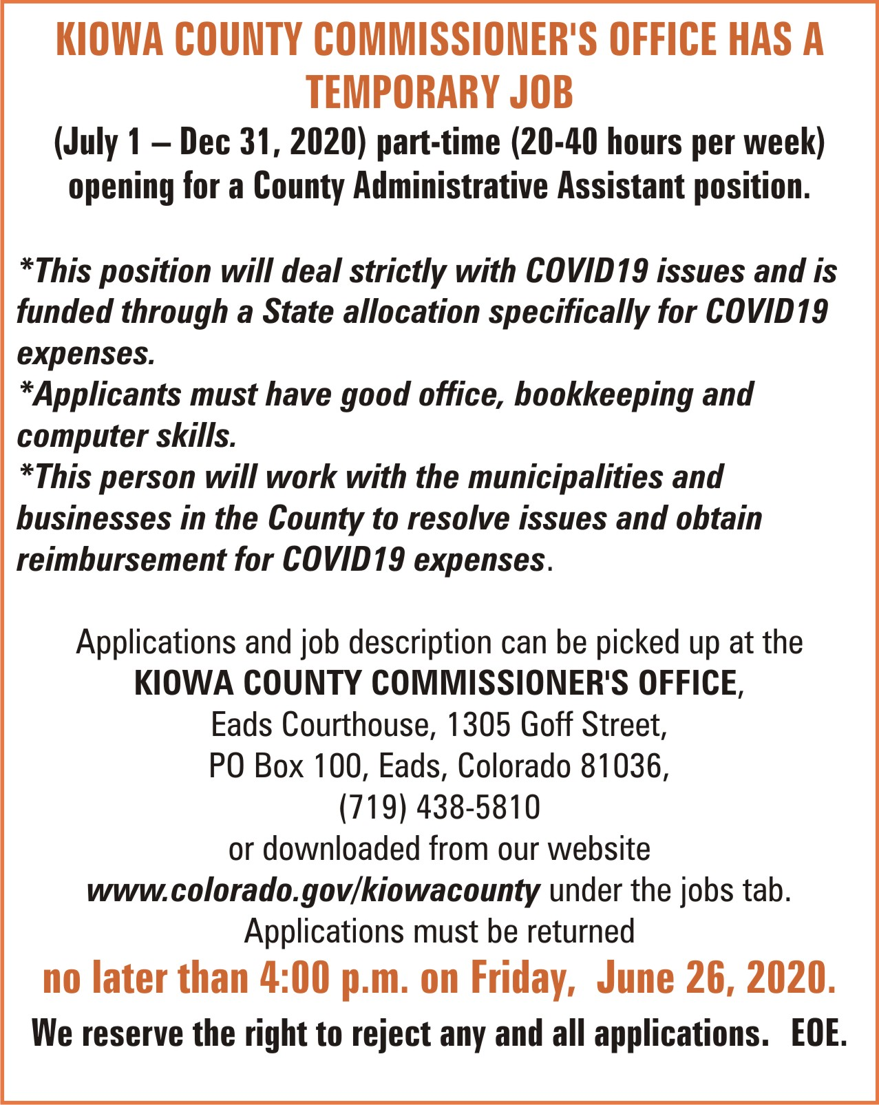 AD 2020-06 Help Wanted - Administrative Assistant