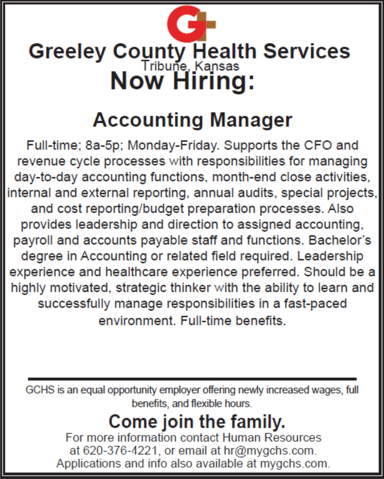 AD 2020-06 Help Wanted - Greeley County Health Services - Accounting Manager