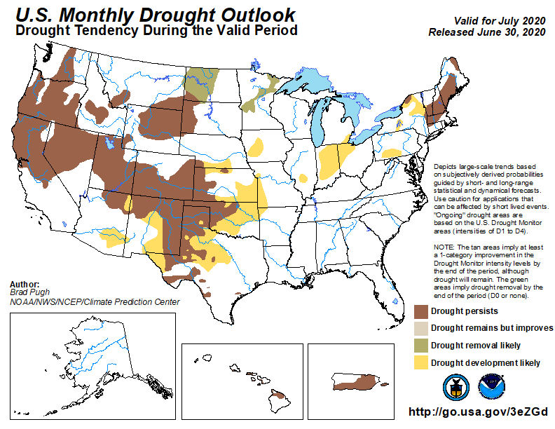 MAP Monthly Drought Outlook - released June 30 for July 2020 - NWS
