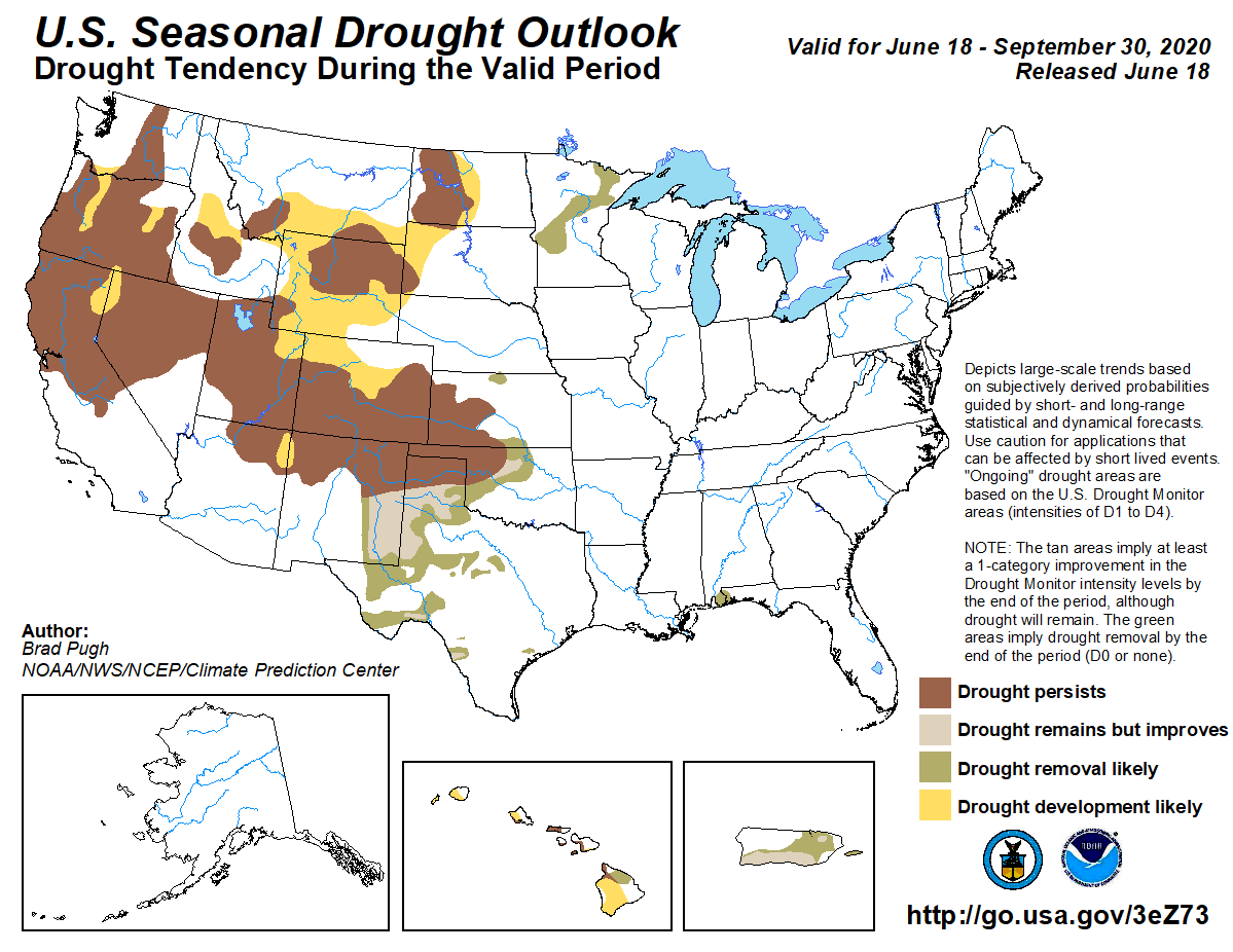 MAP Seasonal Drought Outlook - June 18-September 30, 2020 - NWS