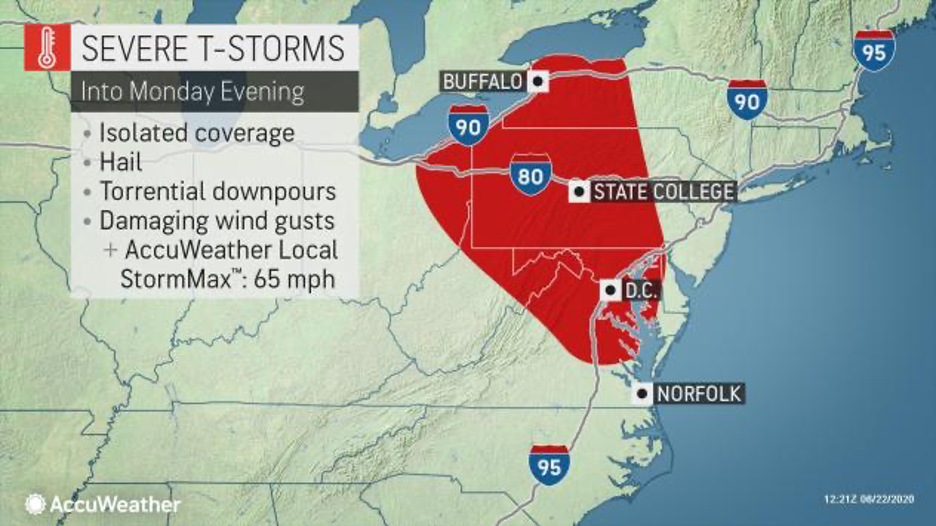 MAP Area for severe storms in the northeast United States for June 22, 2020 - AccuWeather