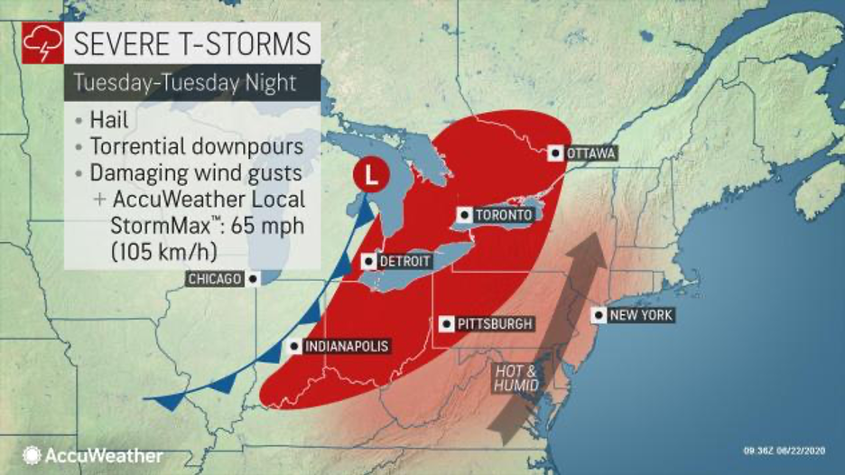 MAP Area for severe storms in the northeast United States for June 23, 2020 - AccuWeather