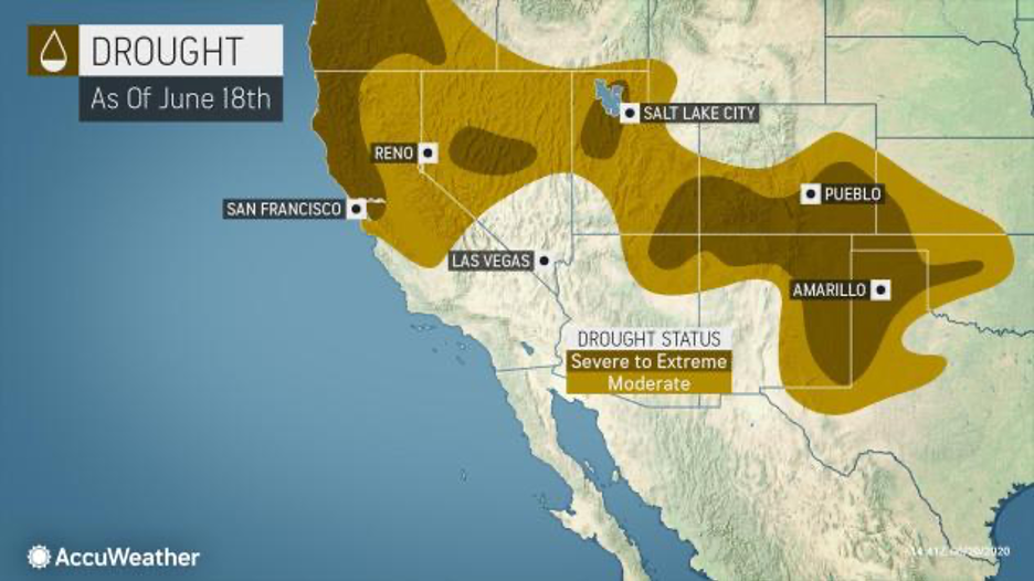 MAP Drought conditions across the southwest United States as of June 18, 2020 - AccuWeather