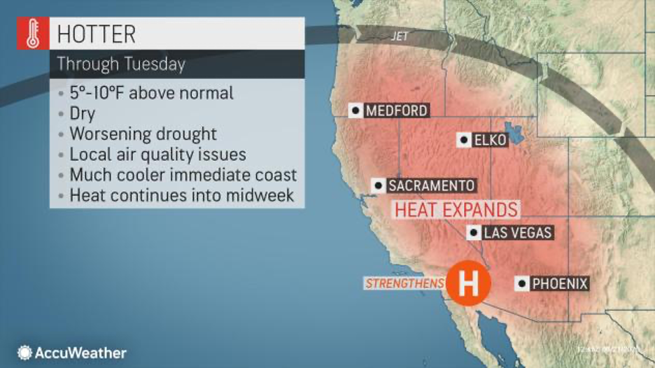 MAP Temperatures across the western United States June 21-22, 2020 - AccuWeather