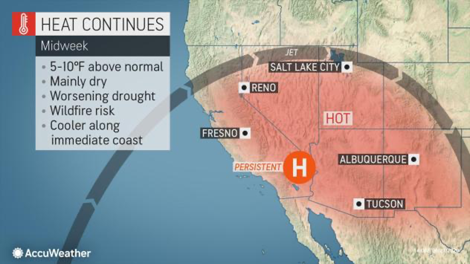 MAP Temperatures across the western United States June 24-25, 2020 - AccuWeather