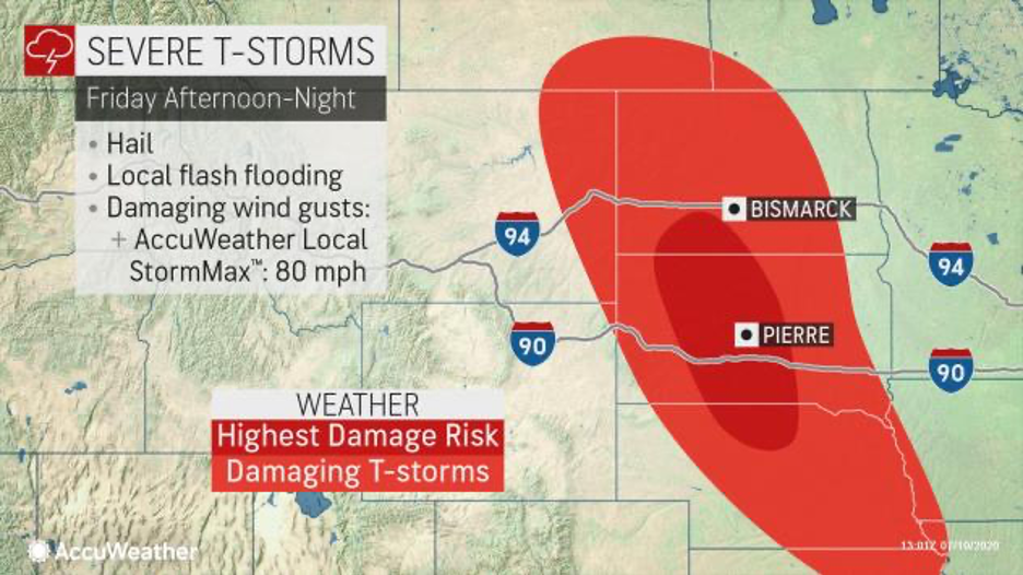 MAP Severe storm outlook for the High Plains July 10, 2020 - AccuWeather