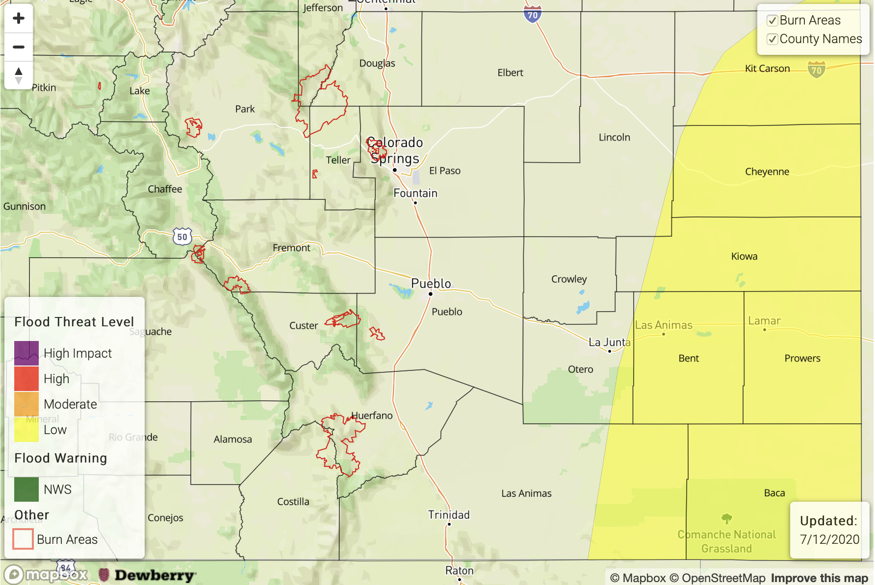 MAP Flood risk in southeast Colorado Sunday, July 12, 2020 - CWCB