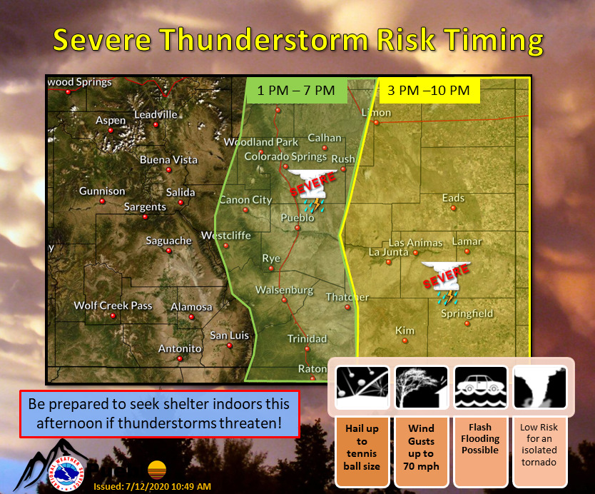 MAP Severe thunderstorm timing in Colorado for July 12, 2020 - NWS
