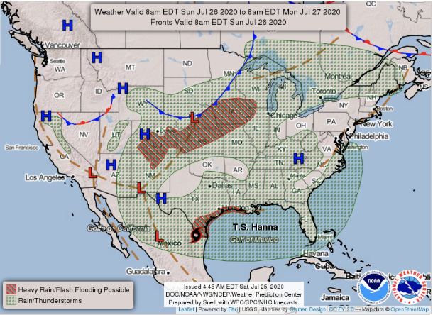 MAP National Forecast Chart for July 26, 2020 - NWS