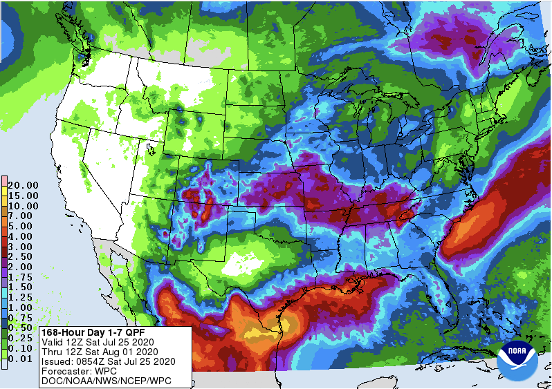 MAP Quantitative Precipitation Forecast for July 25 throught August 1, 2020 - NWS