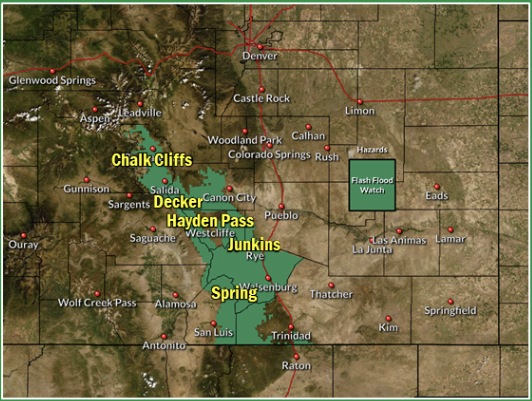 MAP Flash flood warning for southeast Colorado July 26, 2020 - NWS