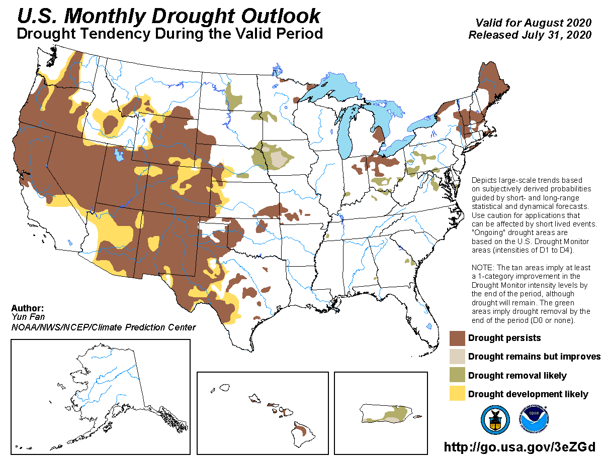 MAP Monthly Drought Outlook - released July 31 for August 2020 - NWS