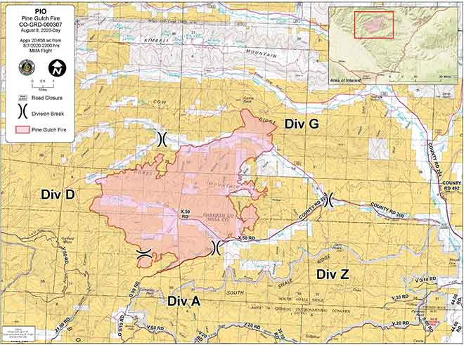 MAP Pine Gulch Fire in Mesa County north of Grand Junction in August 2020.