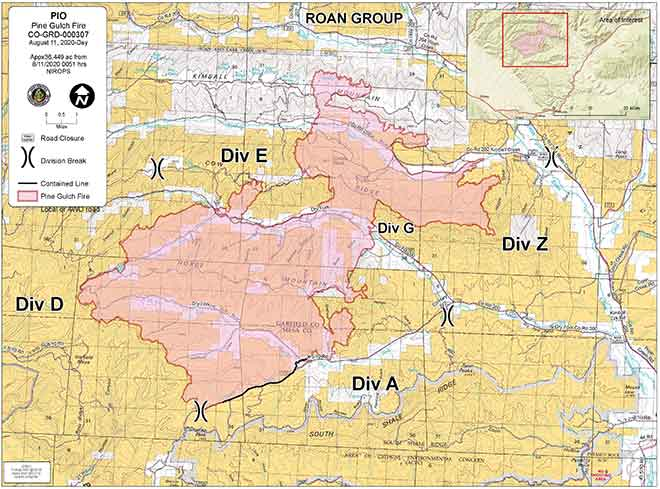 MAP Pine Gulch Fire as of August 11, 2020
