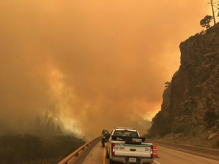 PICT Dense smoke over Interstate 70 August 12, 2020, from the Grizzly Creek Fire