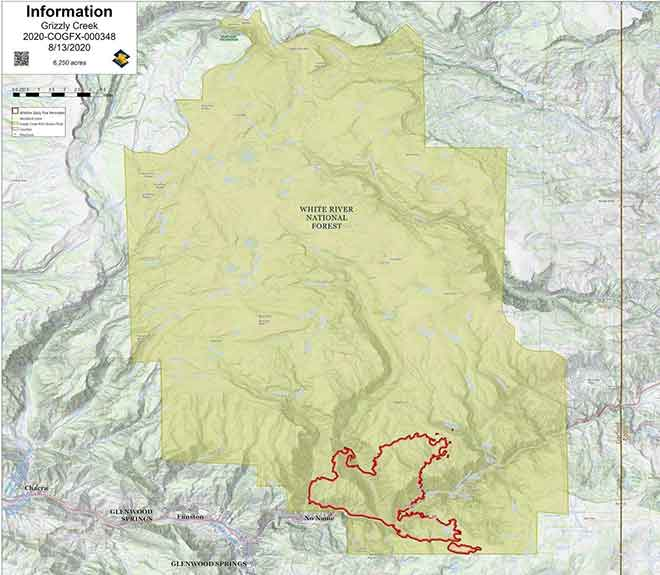 MAP Grizzly Creek fire as of August 13, 2020