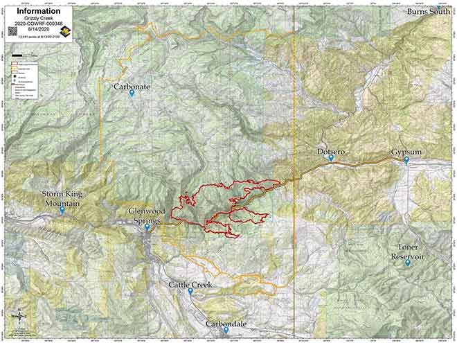 MAP Grizzly Creek Fire perimeter as of August 14, 2020