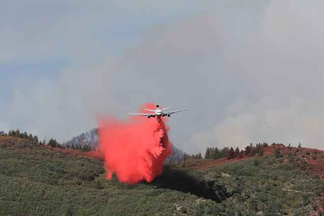 PICT Fire retardant drop near the Grizzly Creek Fire in Garfield County
