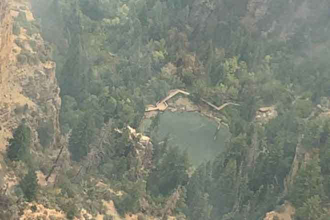 PICT Hanging Lake as seen from the air August 13, 2020