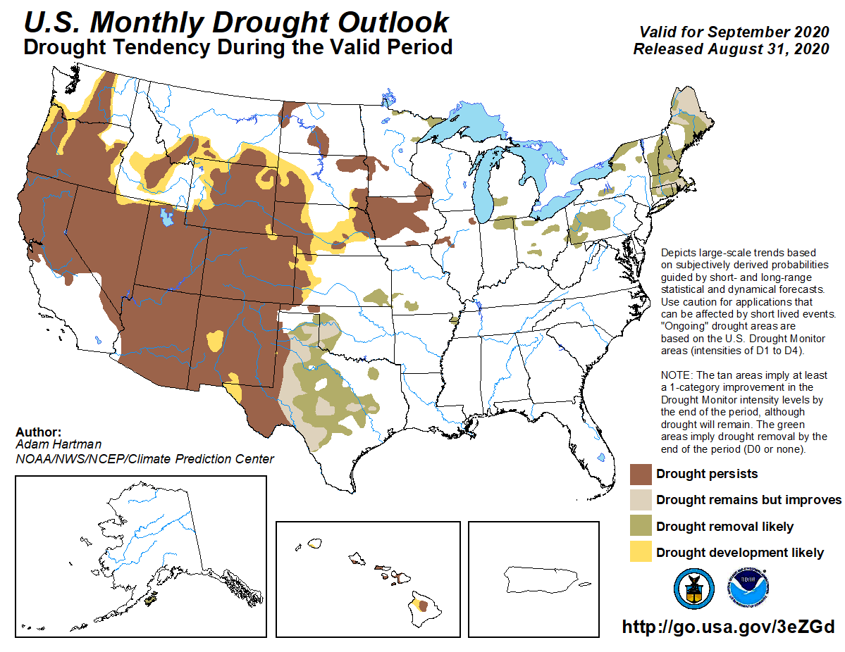 MAP United States monthly drought outlook for September 2020 - NOAA.