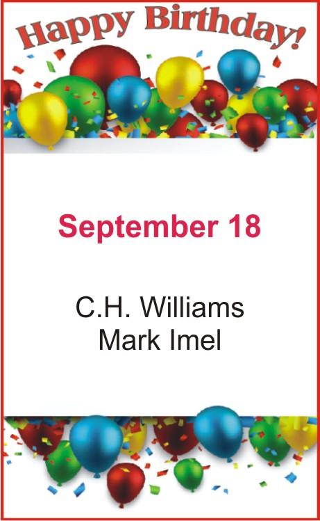 Happy birthday to Williams Imel