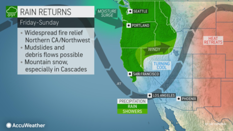 MAP Rain returns in western states for Early October 2020 - AccuWeather