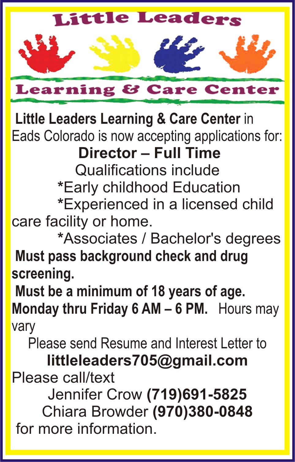 AD 2020-10 Help Wanted - Daycare Director