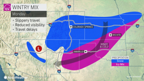 MAP Wintery mix across the plains October 25-26, 2020 - AccuWeather