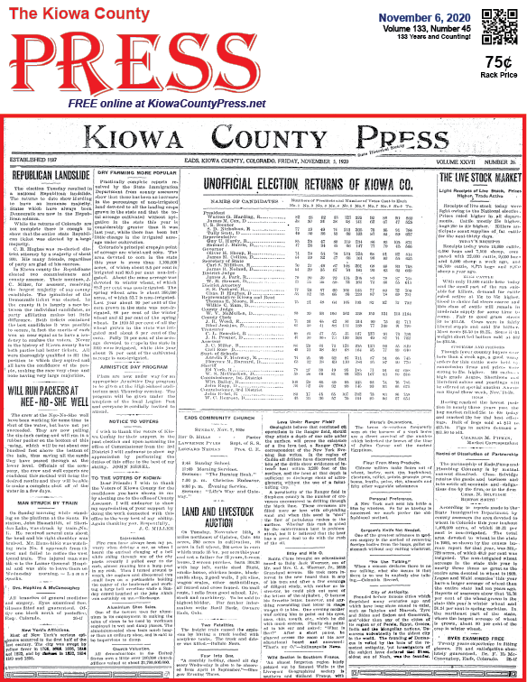 Photo of the Week - 2020-11-06 - Election results from 100 years ago on the front page of the November 5, 1920 edition of the Kiowa County Press in Eads, Kiowa County, Colorado.