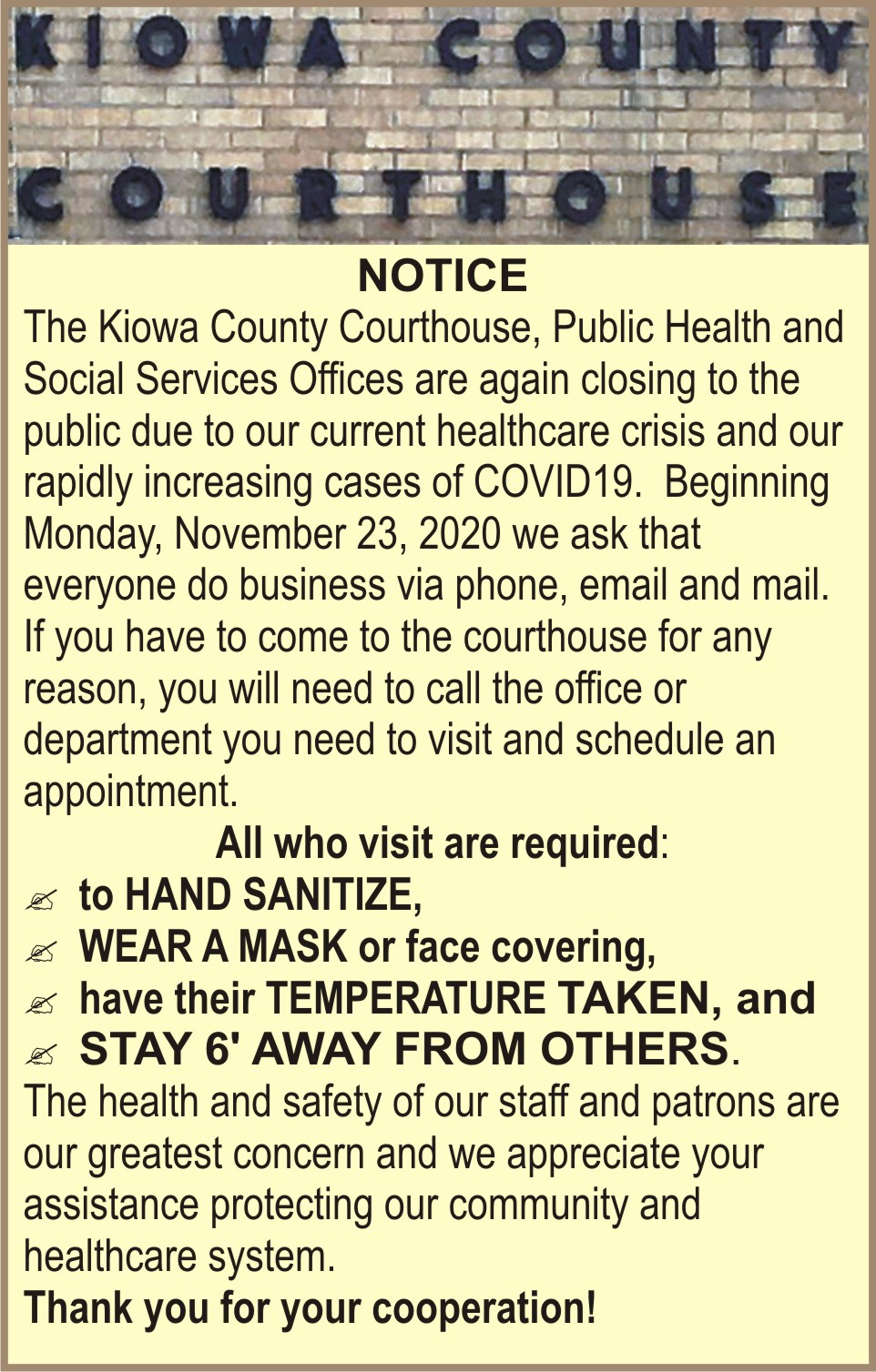 AD 2020-11 Government - Kiowa County Courthouse COVID-19 Requirements