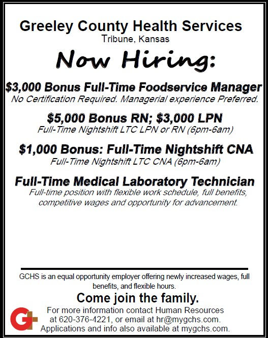AD 2021-01 Help Wanted - Greeley County Health Services