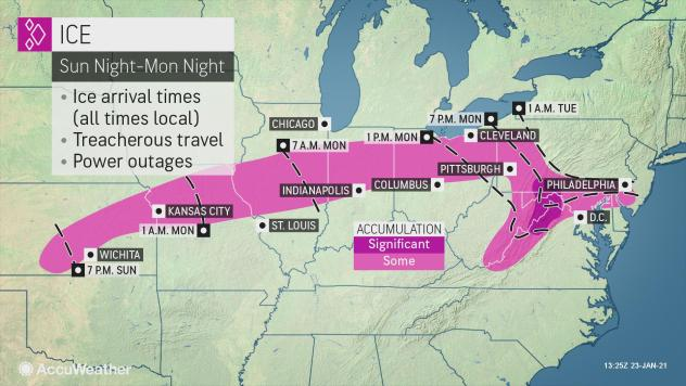 MAP National ice outlook for January 24-26, 2021 - AccuWeather