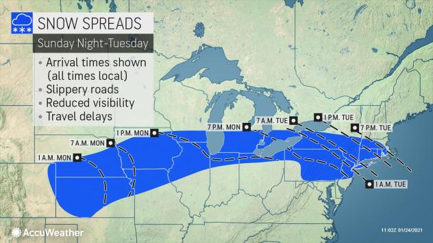MAP National snow outlook for January 24-26, 2021 - AccuWeather