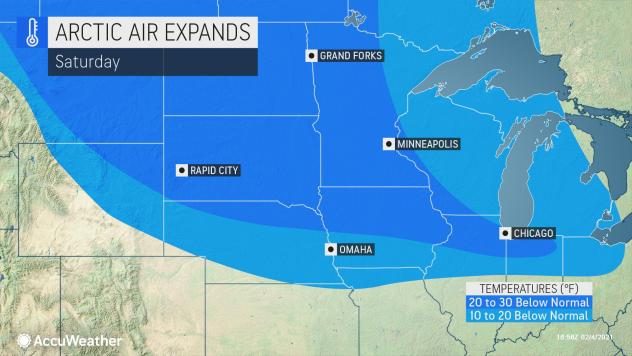 MAP Arctic air expands Febuary 6, 2021 - AccuWeather