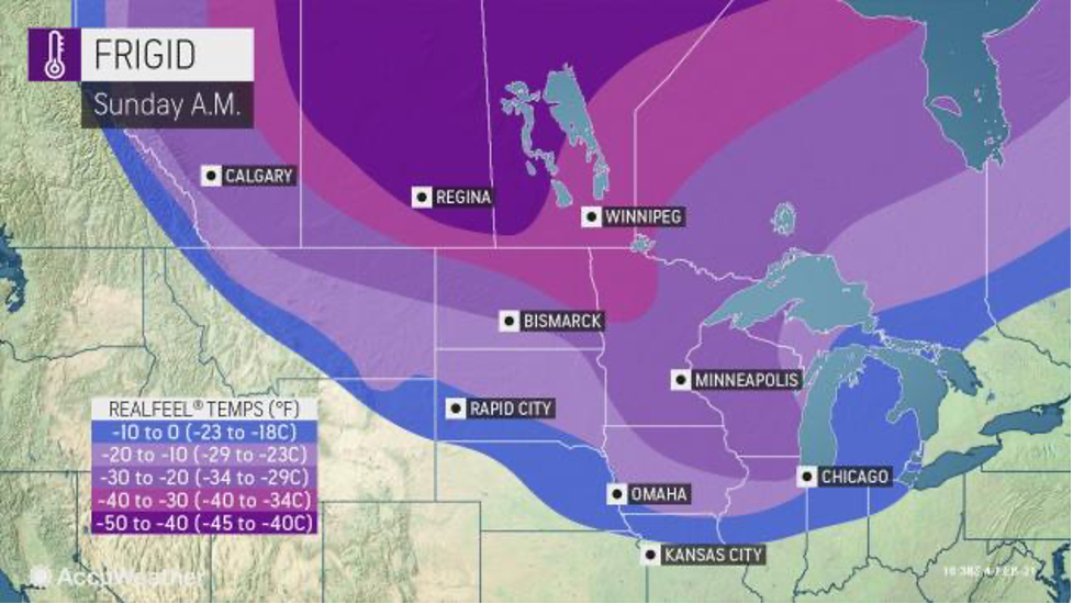 MAP Frigid temperatures February 7, 2021 - AccuWeather