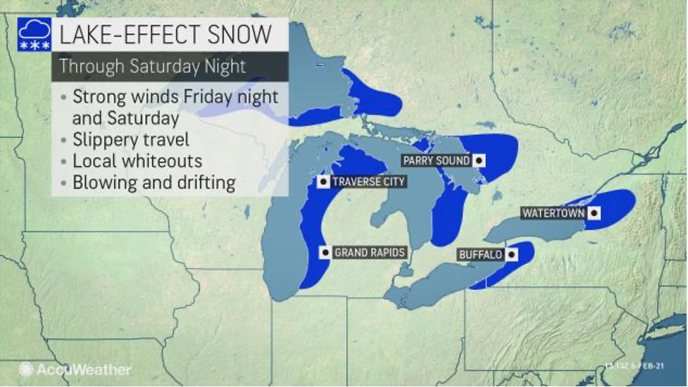 MAP Lake-effect snow through February 6, 2021 - AccuWeather