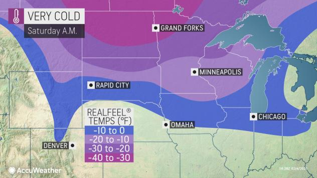 MAP Very cold temperatures February 6, 2021 - AccuWeather