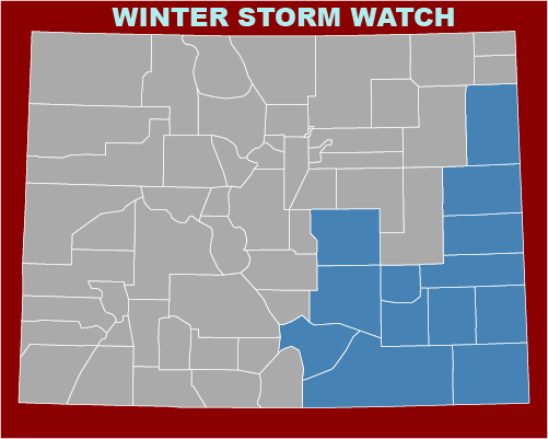 MAP Winter Storm Watch for February 13-14, 2021