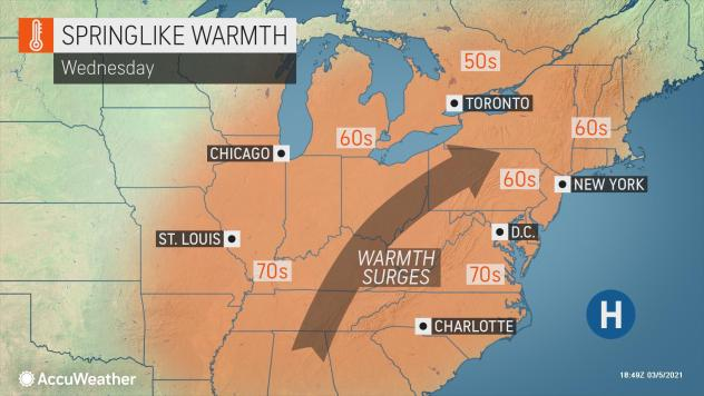 MAP Springlike warmth for the eastern United States Wednesday, March 10, 2021 - AccuWeather