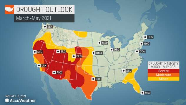 MAP U.S. drought outlook for March-May 2021 - AccuWeather