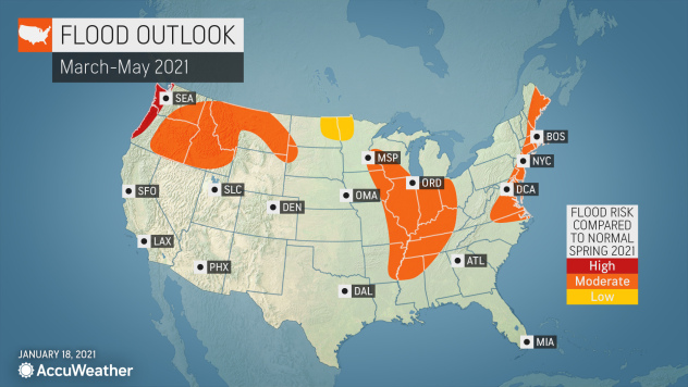 MAP U.S. flood outlook for March-May 2021 - AccuWeather