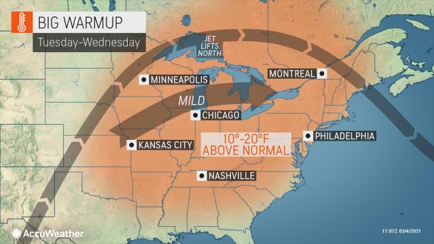 MAP Big warmup in the eastern United States March 8-9, 2021 - AccuWeather