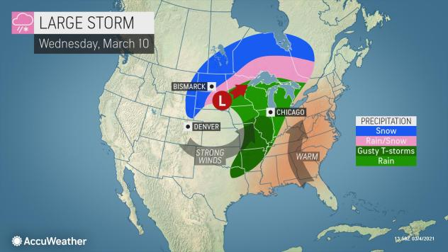 MAP Large storm system expected in the United States March 10, 2021 - AccuWeather