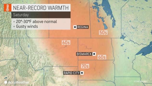 MAP Near-record warmth March 6, 2021 - AccuWeather