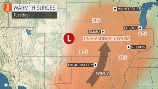 MAP Warm temperatures surge Tuesday, March 9, 2021 - AccuWeather