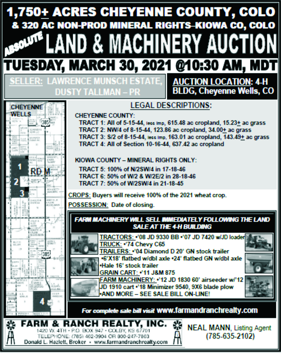 AD 2021-03 AUCTION - Land and Machinery - Cheyenne County