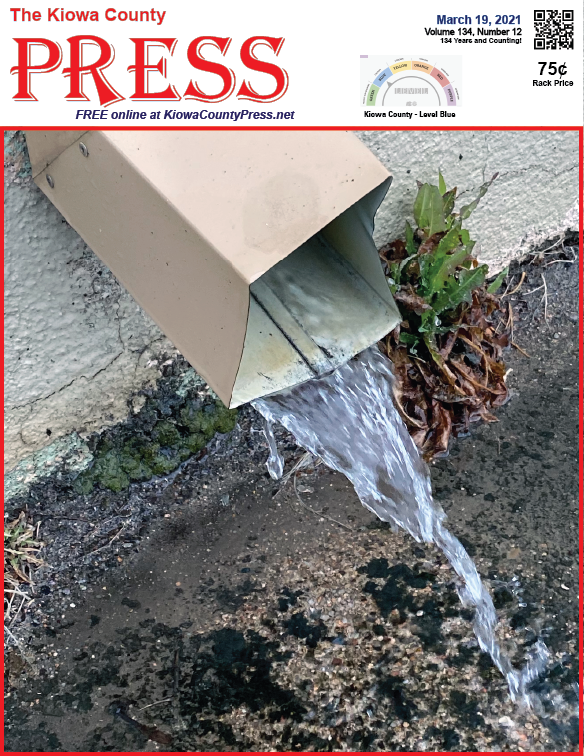 Photo of the Week - 2020-03-19 Rainwater flowing from a downspout in Eads, Kiowa County, Colorado - Chris Sorensen