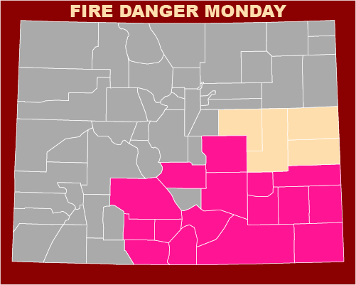 MAP Red flag warning and fire weather watch for southern Colorado for March 29, 2021