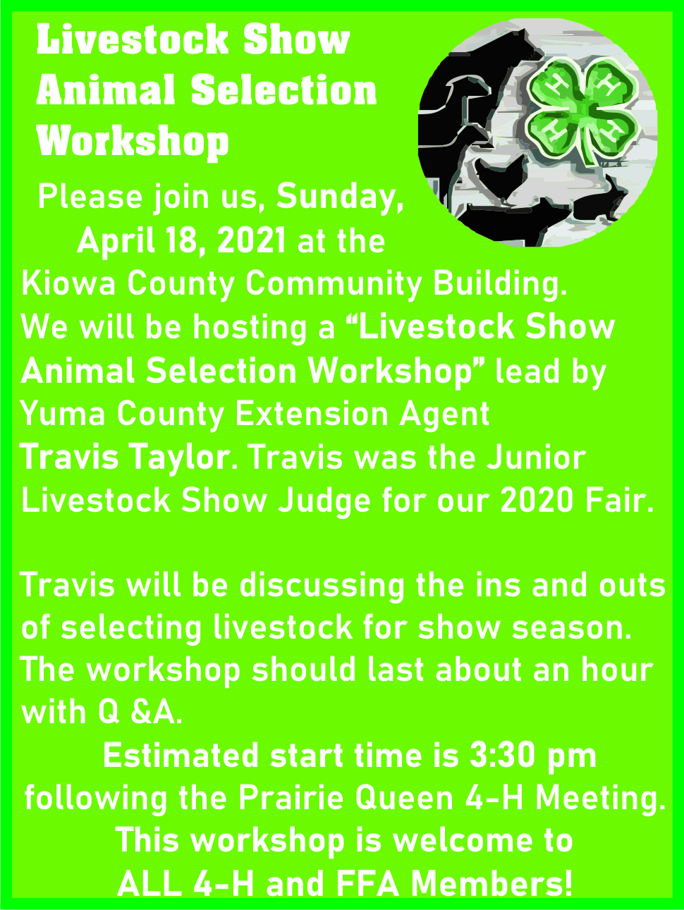 AD 2021-04 Livestock Show Animal Selection