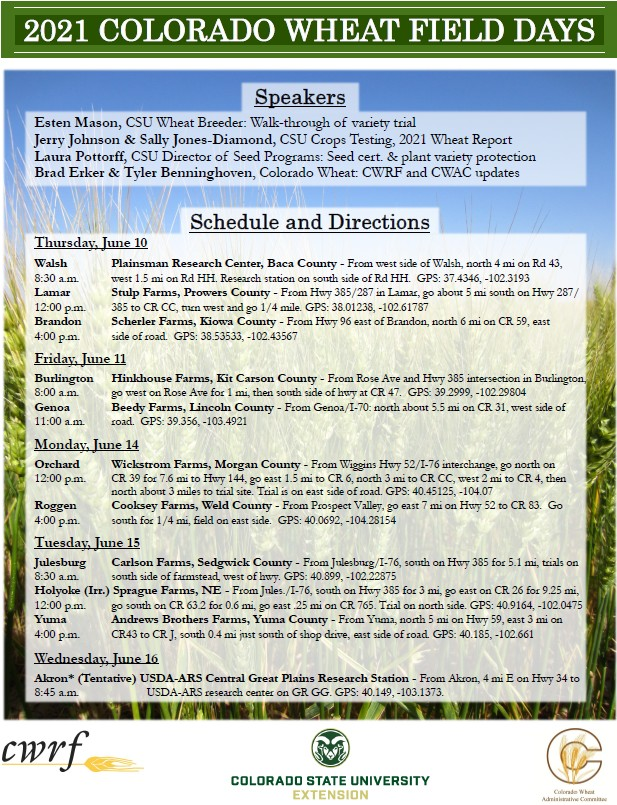AD 2021-04 Agriculture - 2021 Colorado Wheat Field Days